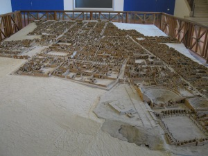 This is a huge, perfectly-scaled model of the western portion of the site at Pompeii. The model resides at the Naples Archaeological Museum. No frills, but it is incredibly accurate and detailed.