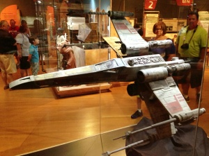 A huge X-Wing model! You can see on the wing that this one is Red 3.